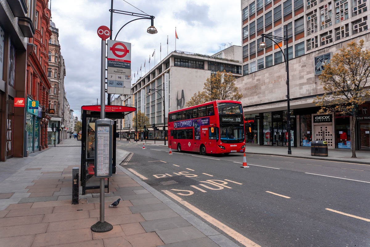 An empty bus stop at Oxford Circus Station