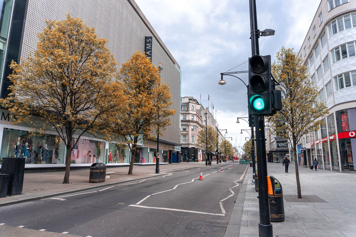 Oxford Street is almost empty