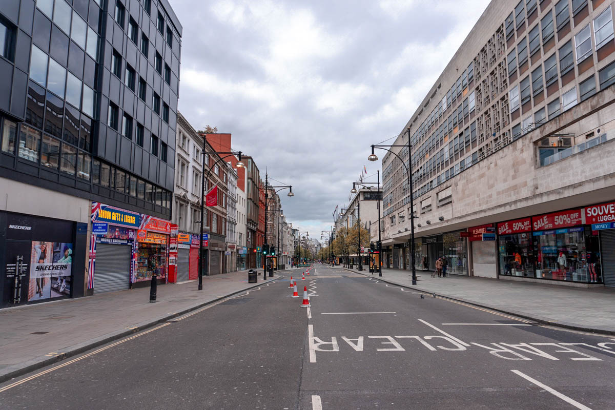 All but the essential shops on Oxford Street are closed
