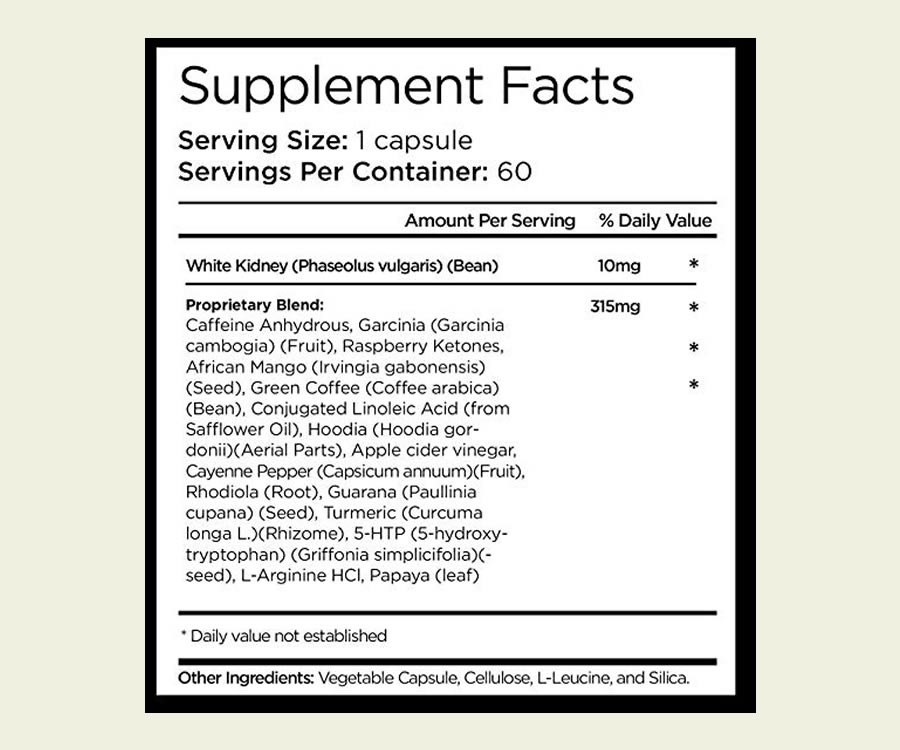 The full Oxy Thermogenic Hyper-Metabolizer ingredients formula on the label