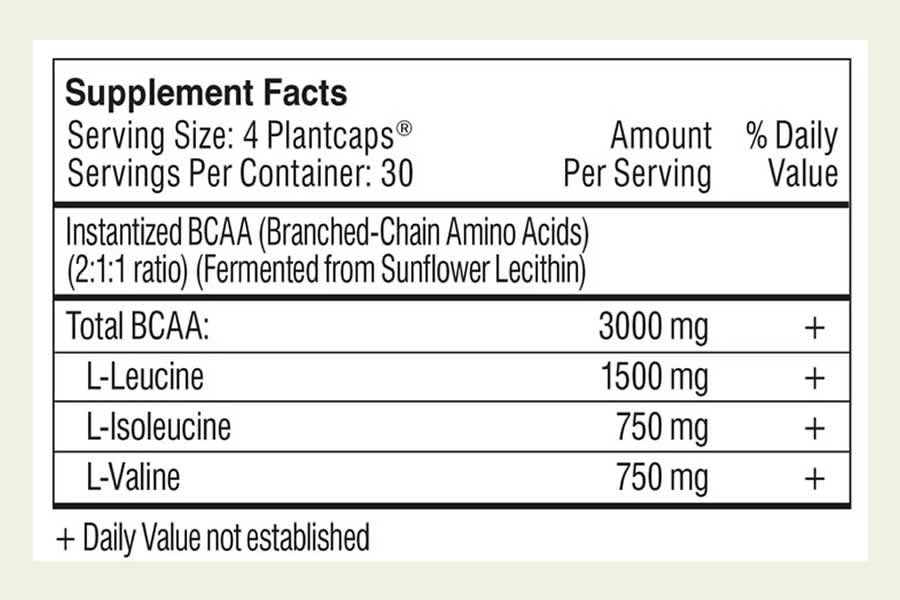 The Performance Lab SPORT BCAA ingredients label