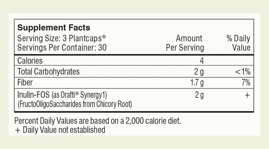 The Performance Lab Prebiotic ingredients label. As you can see, each serving of three capsules contains a total of just four calories