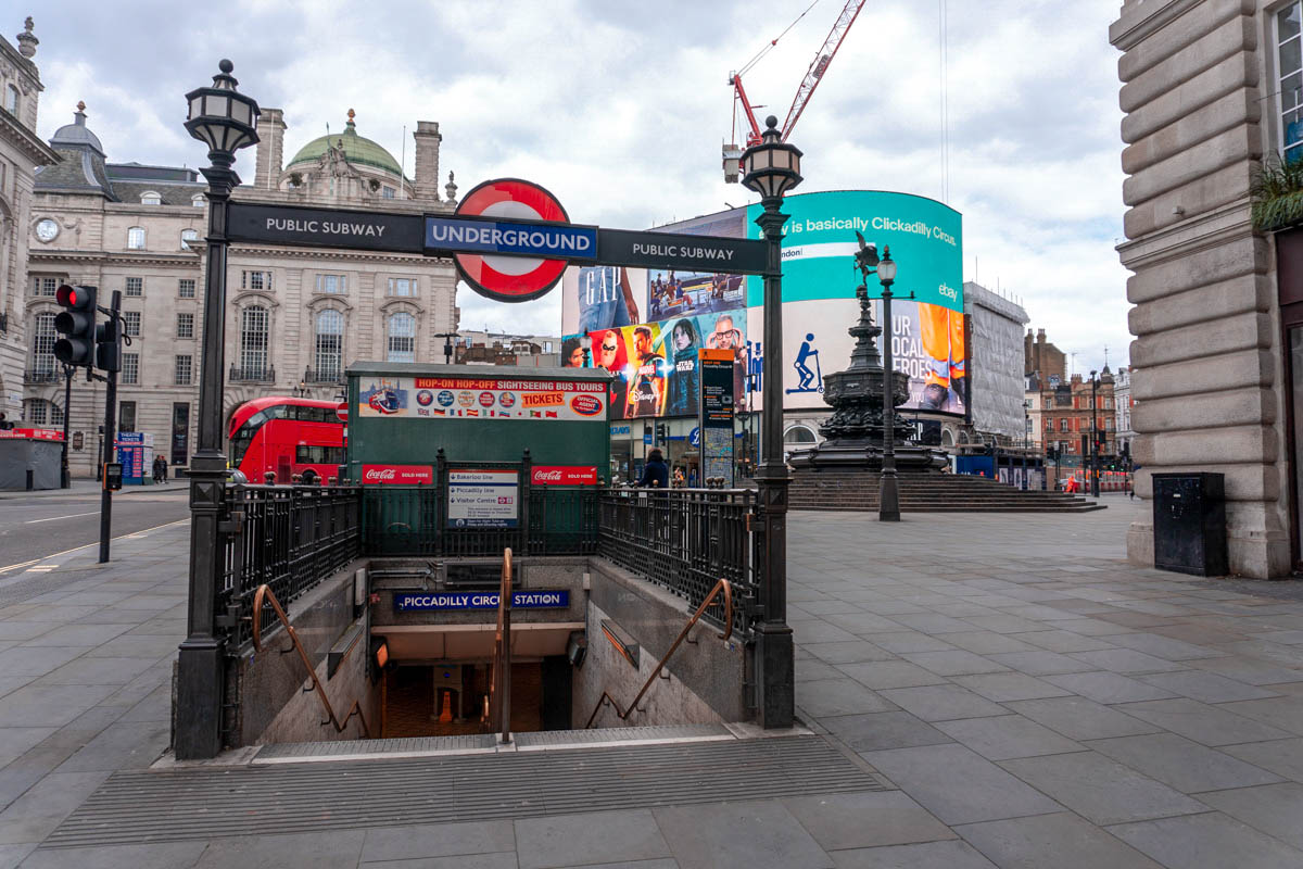 Piccadilly Circus is usually bustling with crowds but it is now almost empty