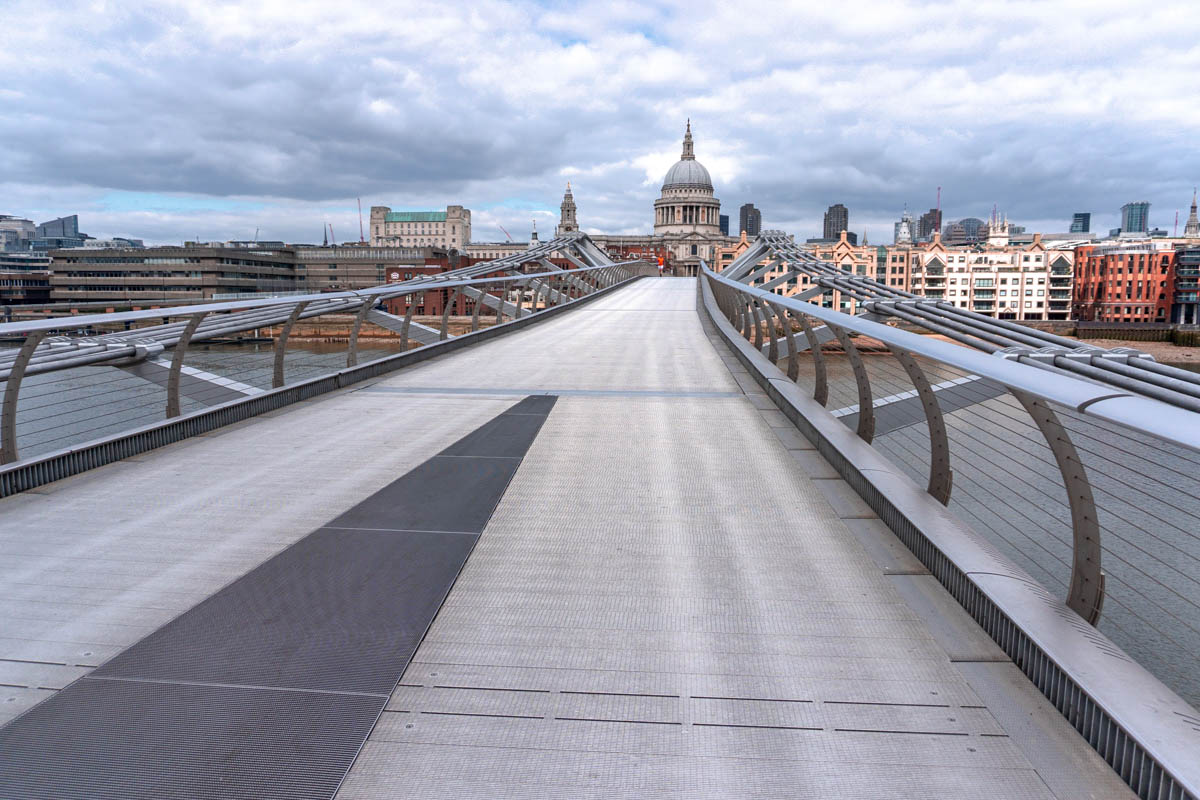 The Millennium Bridge, which leads to St Paul's from the South Bank, was deserted