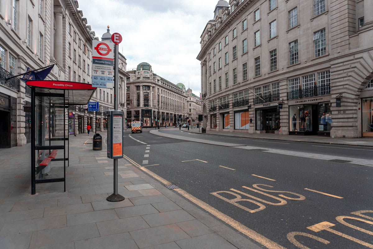 London's Oxford Street is completely deserted during the coronavirus lockdown