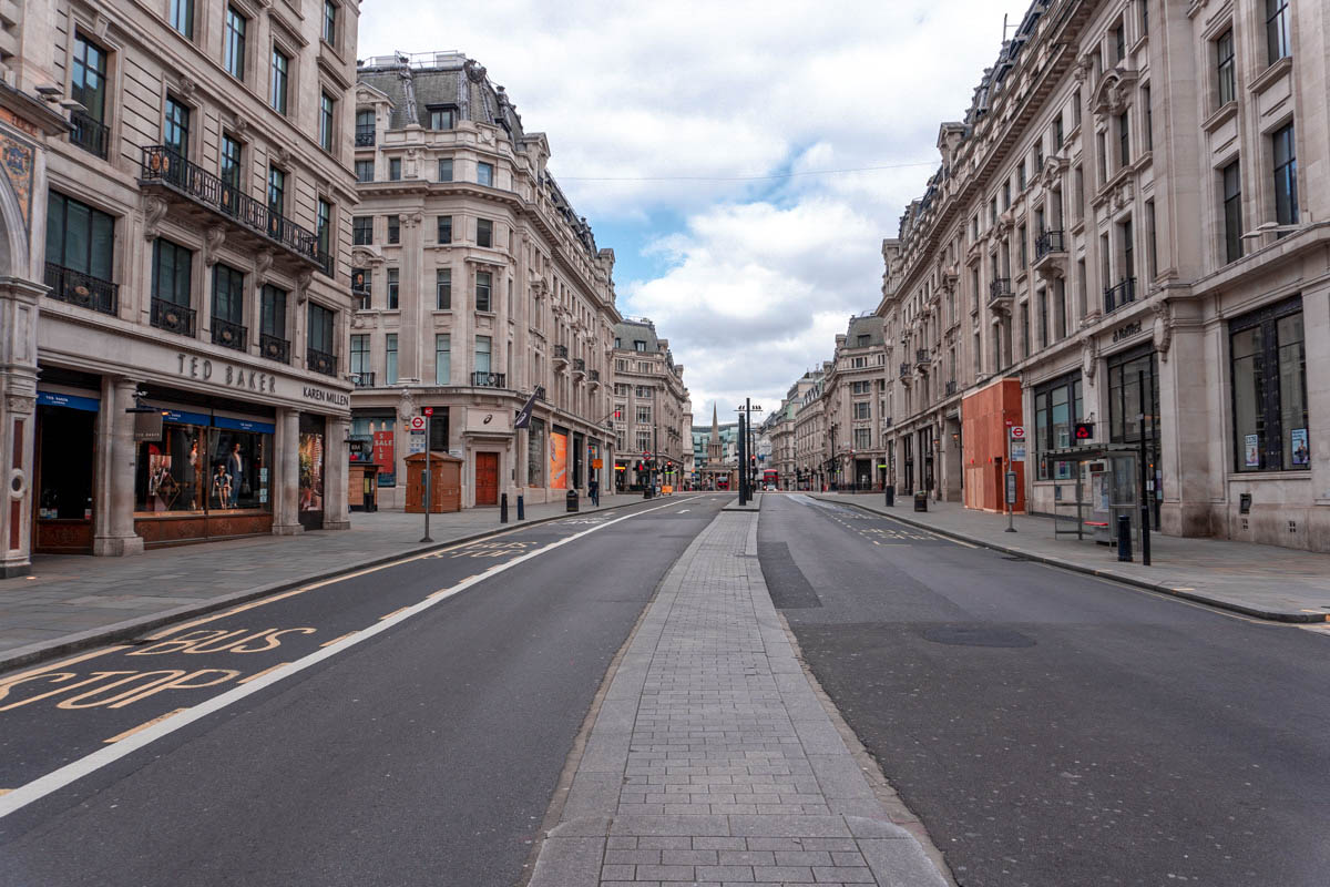 Regent Street is totally deserted and all non-essential shops are closed