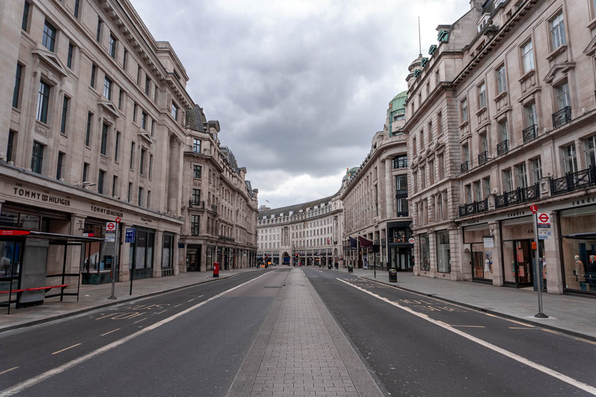 Regent Street without any cars or other vehicles during the lockdown