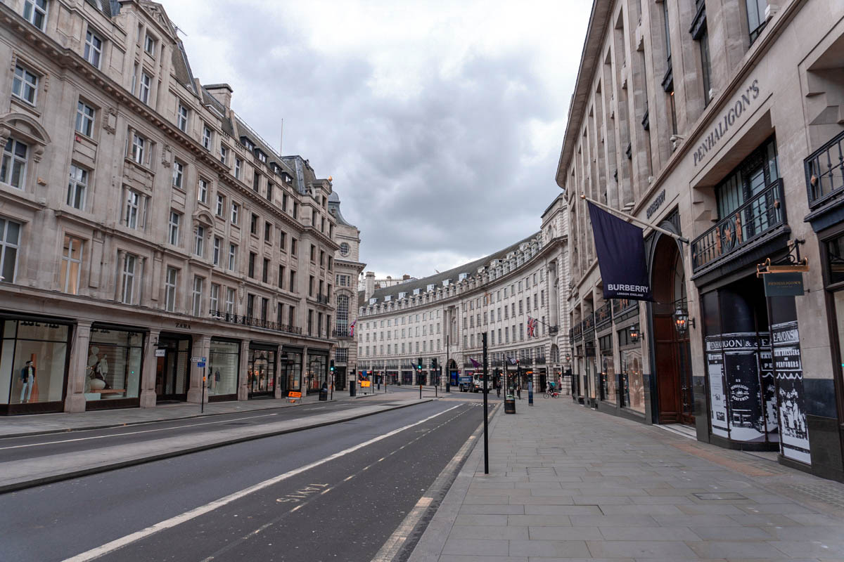 In central London, Regent Street is completely deserted