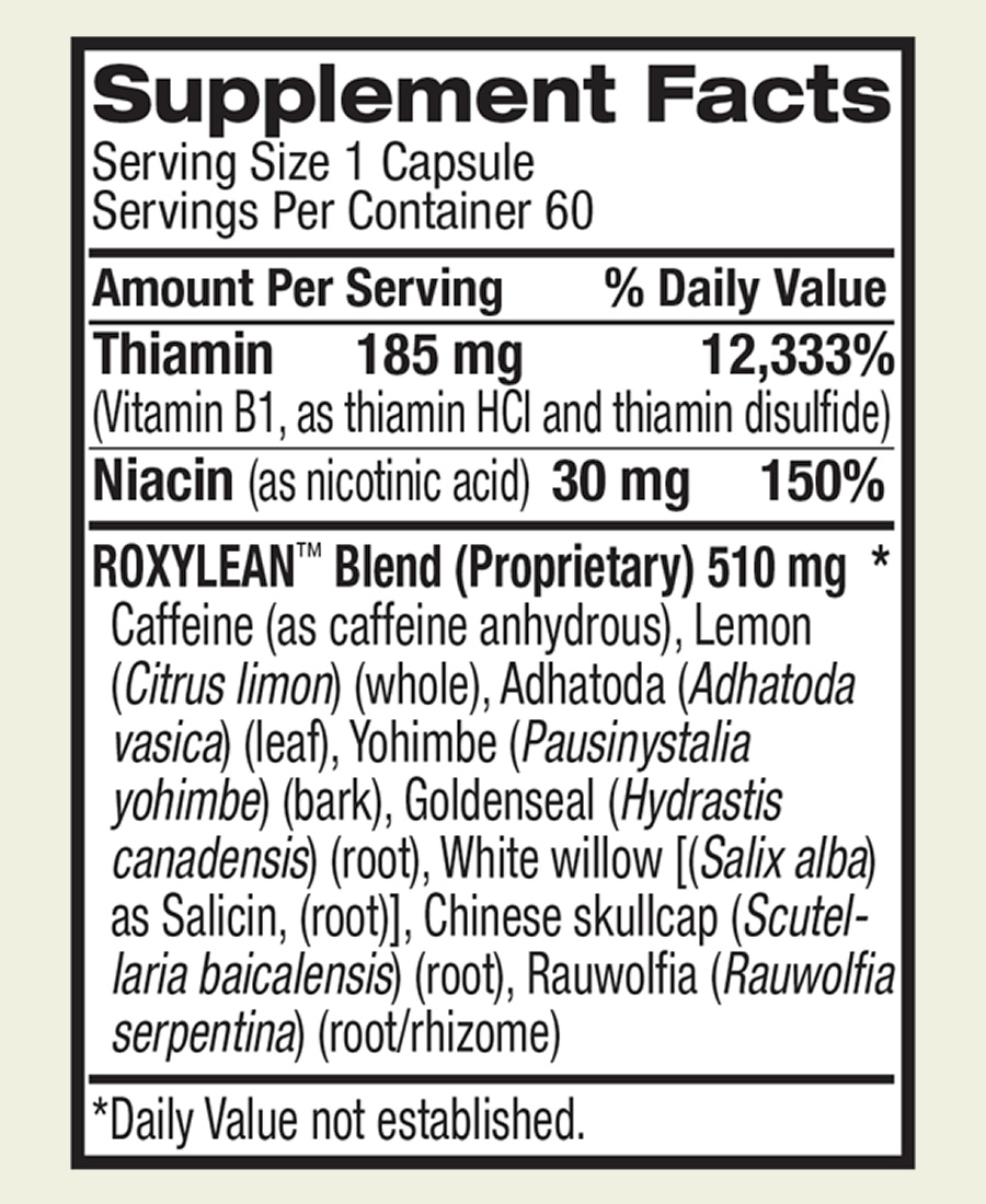 The full RoxyLean ingredients formula. Sadly this supplement uses a proprietary blend