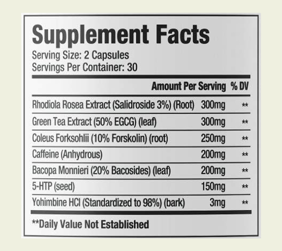 The Sheer Thermo ingredients formula. It's good news that this supplement doesn't use a proprietary blend