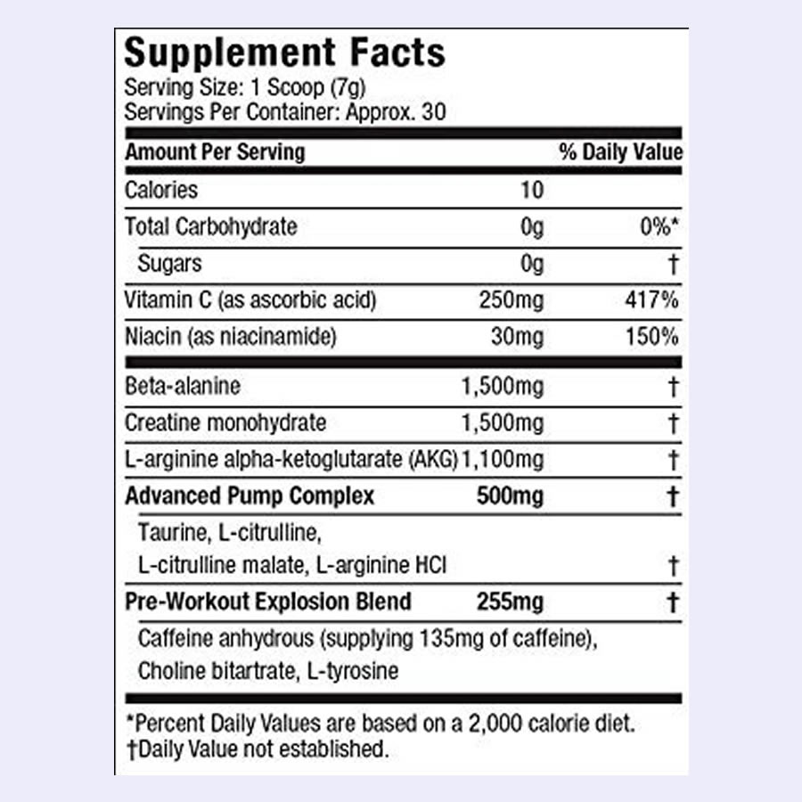 The Six Star Pre Workout Explosion ingredients formula. Unfortunately, some of the doses are masked in proprietary blends