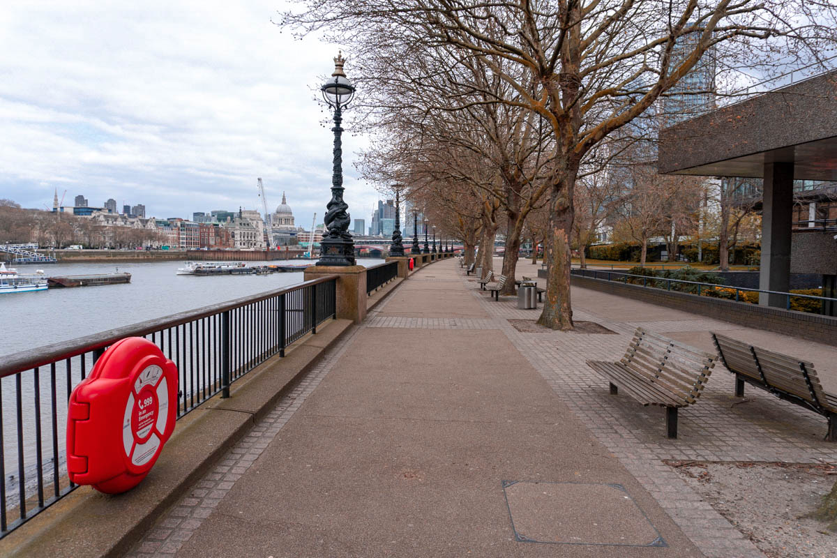 The South Bank is deserted during the lockdown