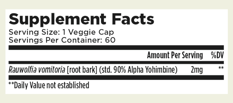 The short Alpha Yohimbine ingredients formula. As you can see, this supplement only uses one ingredient but at least it doesn't contain a proprietary blend