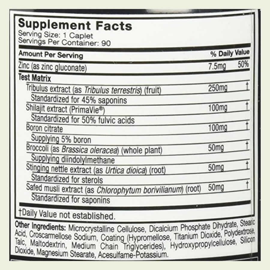 The Test HD ingredients formula. It's great that this product does not use a proprietary blend