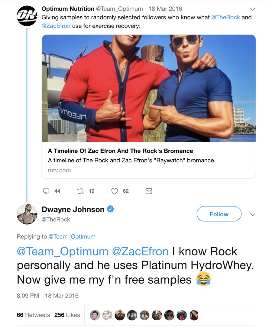 The Rock reveals that he is a fan of Optimum Nutrition's Platinum HydroWhey