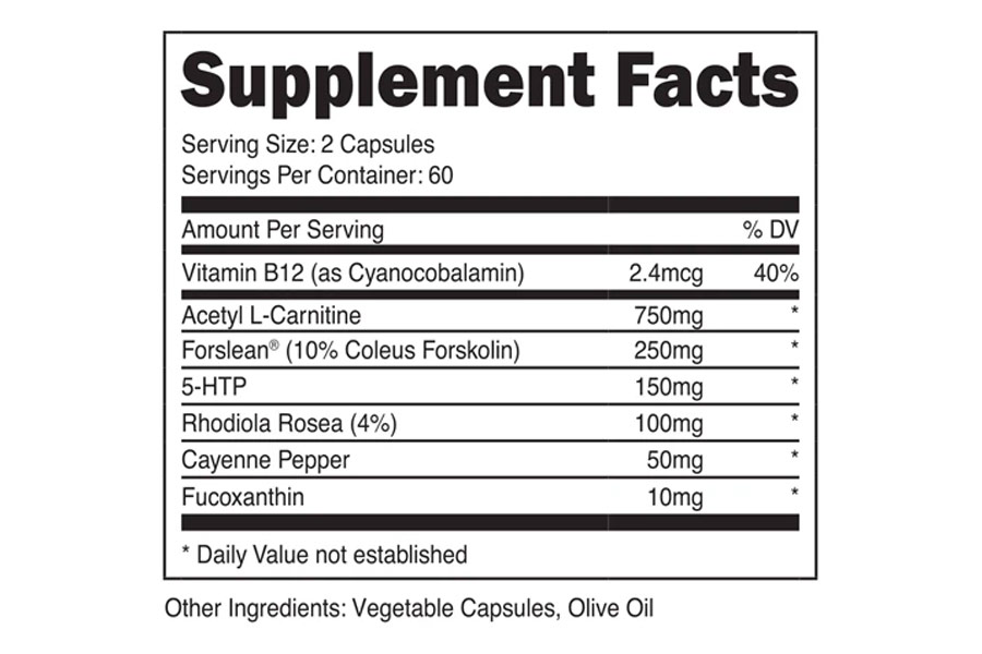Transparent Labs Stim Free Fat Burner Ingredients