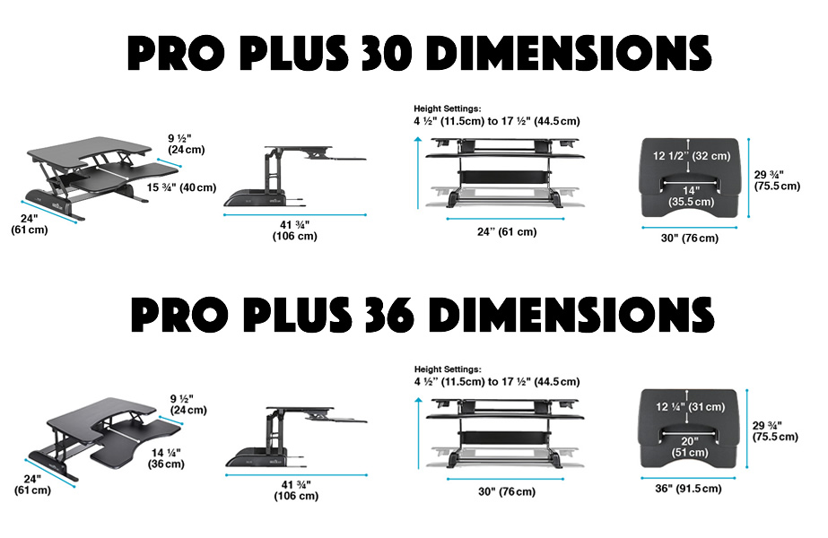 The dimensions of both the Varidesk Pro Plus 30 and 36 models