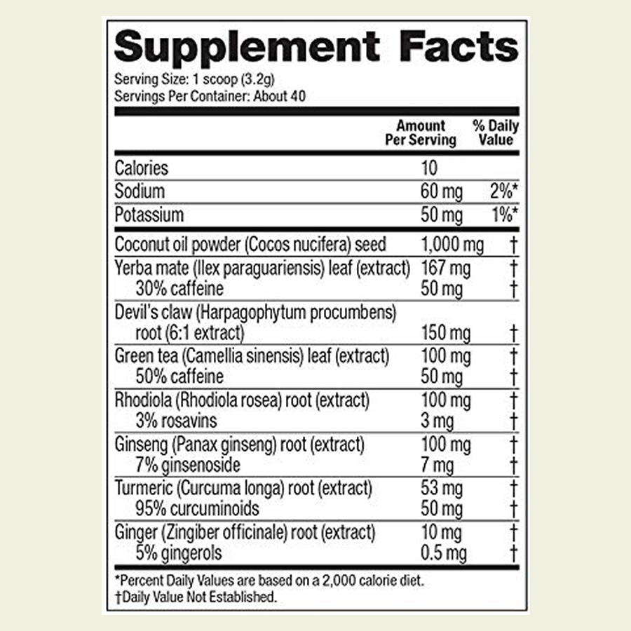 The Vega Sport Pre-Workout Energizer ingredients formula. It's good to see that this supplement doesn't use a proprietary blend