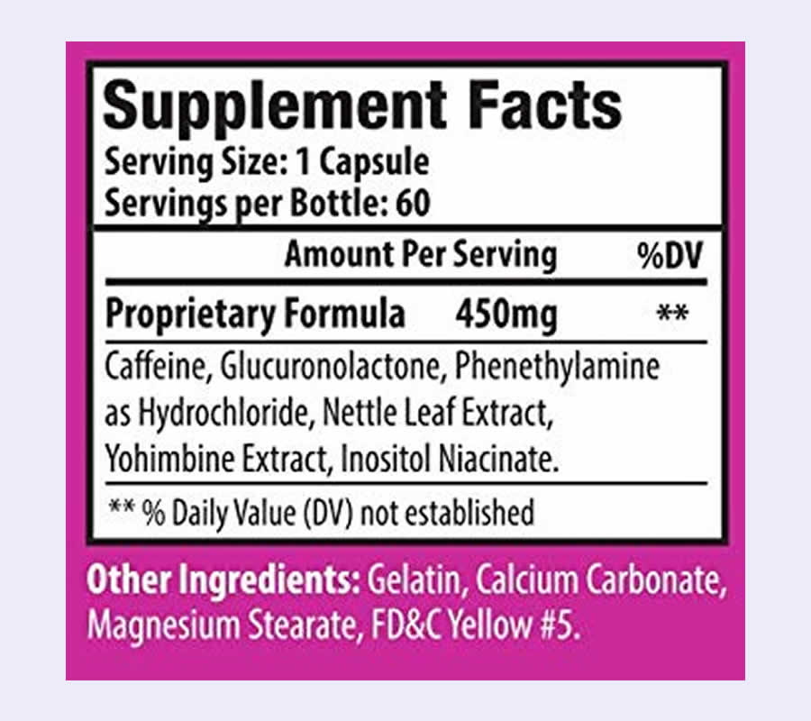 The Vitamiss Shred ingredients formula in full. It's very disappointing that this product uses a proprietary blend