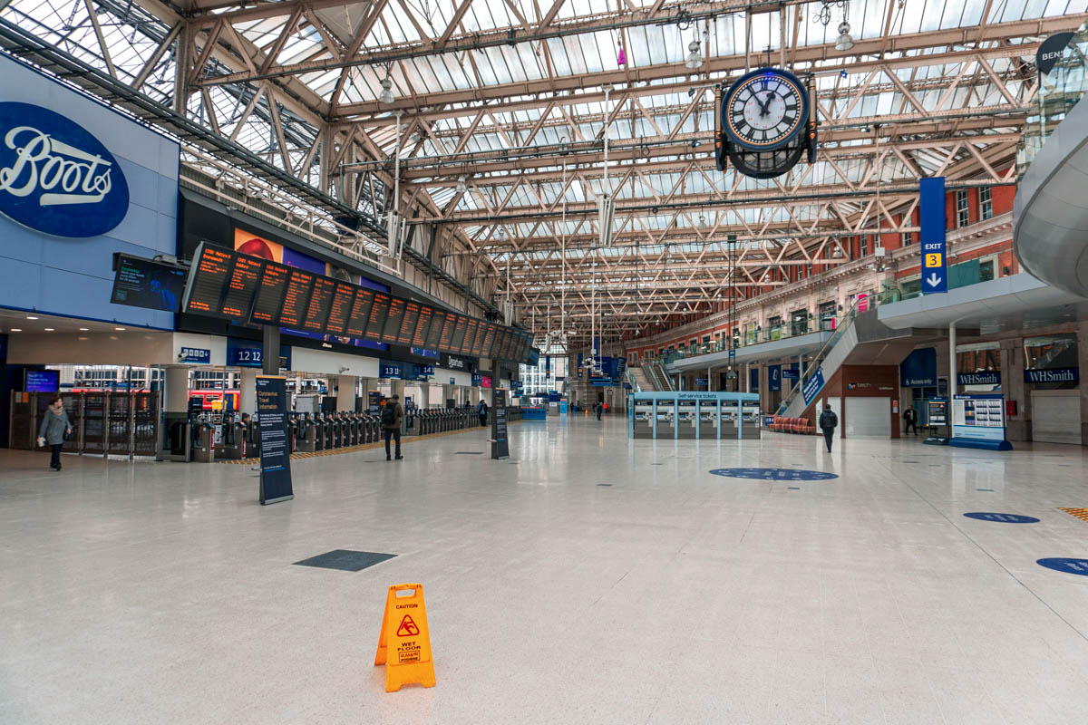 A deserted Waterloo train station